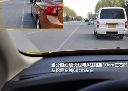 白线离左前角10CM时车轮离白线50-60厘米